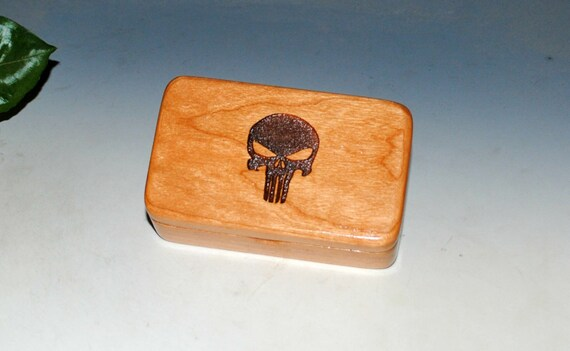 Small Wooden Box  With a Punisher of Cherry - Handmade Tiny Wood Box by BurlWoodBox - USA Made