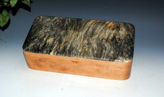 Handmade Wood Box With Tray of Buckeye Burl on Cherry - Wooden Box With Hinged Lid - USA Made Unique Unisex Gift