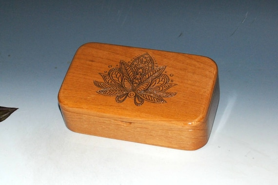 Small Wooden Box With Lotus Flower Laser Engraved on Alder- Handmade Hinged Lid Box by BurlWoodBox - Symbolic Rebirth or Purity
