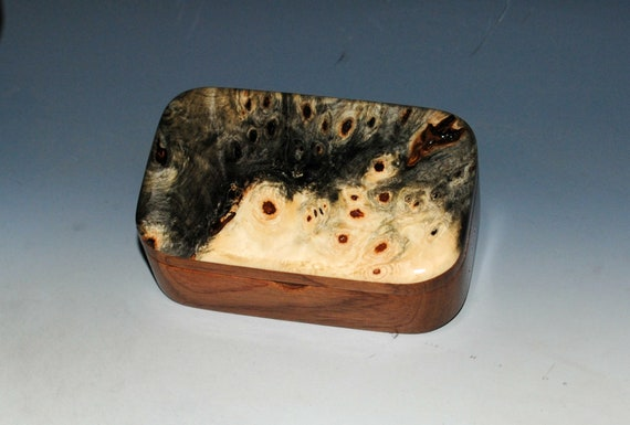 Wooden Trinket Box of Buckeye Burl on Mahogany  - Handmade Box With Lid by BurlWoodBox - USA Made Unique Gift