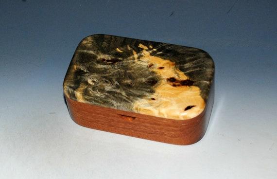 Wooden Trinket Box of Buckeye Burl on Mahogany  - Handmade Box With Lid by BurlWoodBox