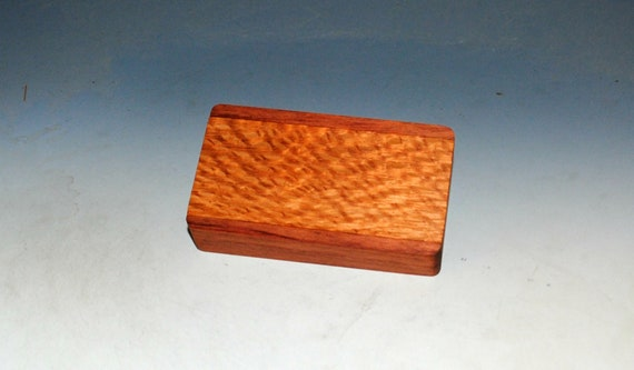 Slide Top Small Wood Box of Bubinga With Lacewood - USA Made by BurlWoodBox With a Food Safe Finish