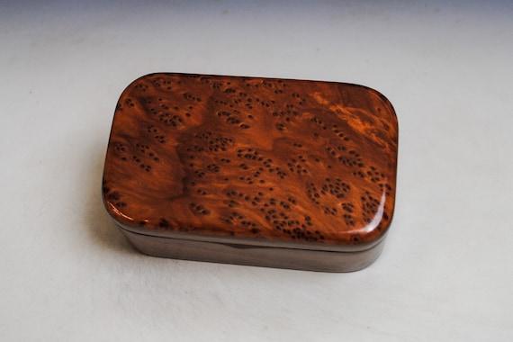 Redwood Burl on Walnut Handmade Wooden Trinket Box - Handmade  by BurlWoodBox in the USA - Gift For a Man