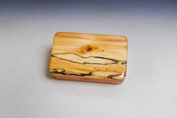 Small Wooden Box of Cherry With Spalted Maple by BurlWoodBox - Handmade Small Wood Gift Box
