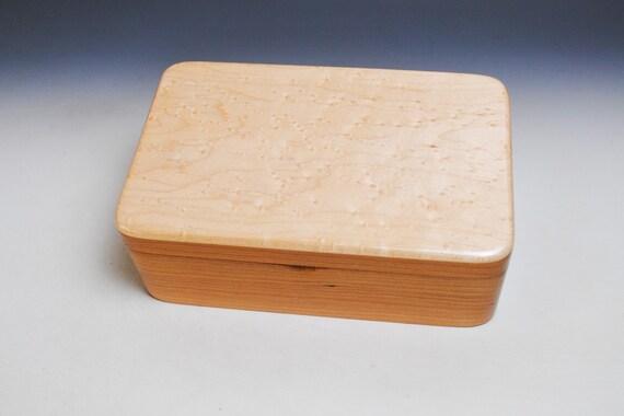 Handmade Wood Box, Wood Jewelry Box, Wood Treasure Box, Wood Keepsake Box, Stash Box - Cherry and Birdseye Maple by BurlWoodBox, Wood Gift