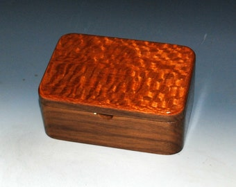 Wooden Box with Tray- Handmade Wood Box of Walnut & Lacewood-Jewelry Box, Desk Box, Box With Lid, Gift Box, Wooden Storage Box-Keepsake Box