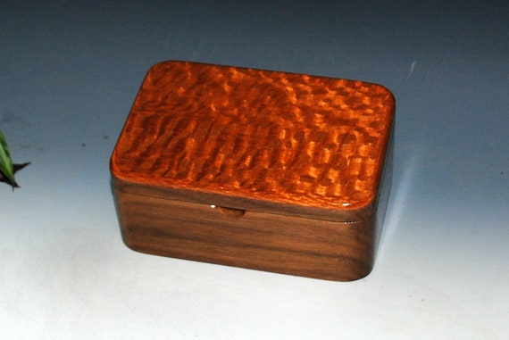 Wooden Box with Tray of Walnut & Lacewood - Handmade Wood Box With Hinged Lid by BurlWoodBox -A Unique USA Made Gift For Anyone On Your List