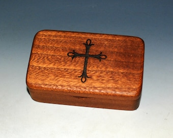 Small Wooden Box With Cross Engraving on Mahogany -  Rosary Box - Handmade Tiny Wood Box With Food Grade Finish - Small Religious Gift