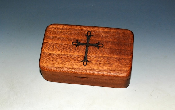 Small Wooden Box With Cross Engraving on Mahogany -  Rosary Box - Handmade Tiny Wood Box With Food Grade Finish - Small Religious Gift