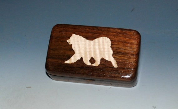Curly Maple Samoyed Inlay & Walnut Tiny Wood Box - Handmade Wood Box by BurlWoodBox- Sammy Box - Samoyed Dog Box