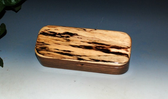 Wooden Pen Box of Spalted Maple & Walnut - Desk, Jewelry or Keepsake Box by BurlWoodBox