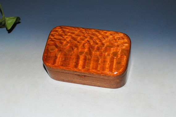 Wooden Trinket Box of Lacewood on Mahogany - Small Wood Jewelry or Treasure Box Handmade by BurlWoodBox