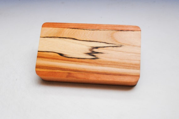 Slide Top Small Wood Box of Cherry With Spalted Elm - USA Made by BurlWoodBox With a Food Safe Finish