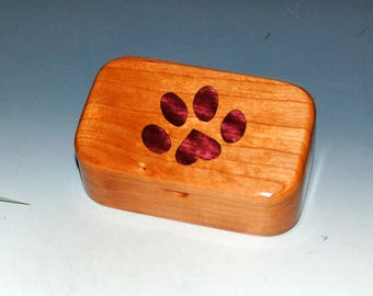 Wooden Box with Paw Print Inlay of Purple Heart in Cherry - Handmade Trinket Box For Animal Lovers !