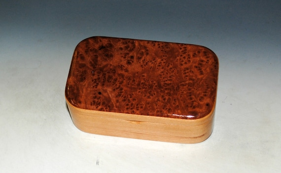 Wooden Trinket Box of Redwood Burl on Cherry by Handmade by BurlWoodBox - Small Wood Box - Unique Gift !
