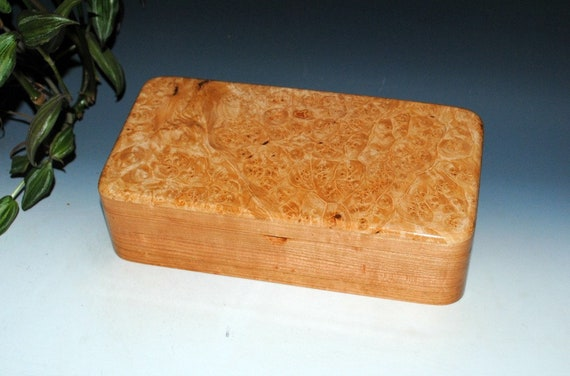 Handmade Wooden Box With Tray and Hinged Lid of Maple Burl on Cherry by BurlWoodbox