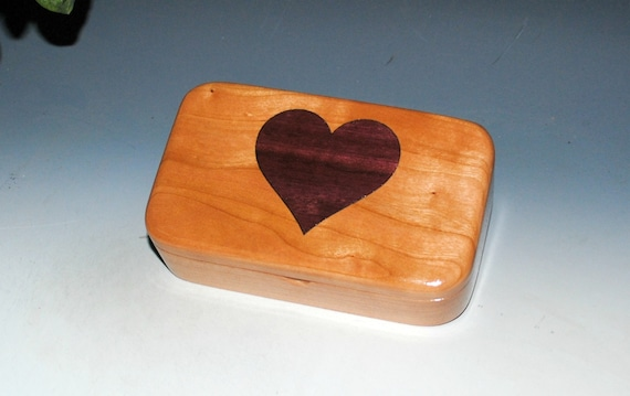 Heart Box - Wooden Box of Cherry with Purple Heart Inlay Heart - Great Gift !