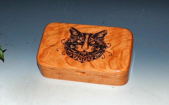 Wooden Treasure Box of Cherry With Engraved Cat  - Paisley Cat Box With Hinged Lid - The Purrfect Handmade Gift ! Discontinued Design