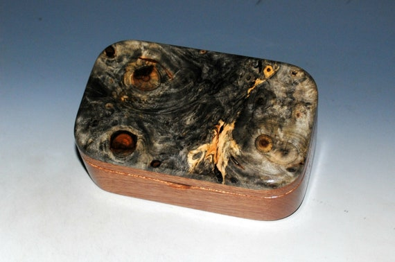 Buckeye Burl on Mahogany Handmade Wooden Trinket Box by BurlWoodBox