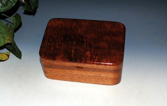 Small Wooden Box With a Tray of Redwood  Burl on Mahogany - Handmade Box With Hinged Lid by BurlWoodBox