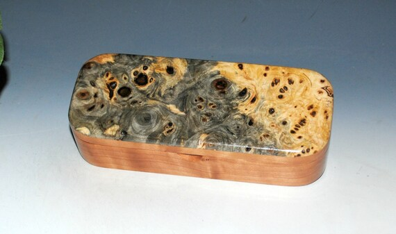 Small Wooden Box of Buckeye Burl on Cherry - Handmade Wood Pen,Pencil Box or Small Jewelry Box - Gift For Any Ocassion