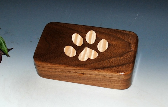 Wooden Box - Wood Box of Walnut With Curly Maple Paw Inlay - Stash Box, Jewelry Box, Treasure Box, Gift Box, Keepsake Box, Pet Box, Dog Box