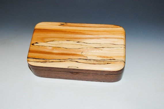 Wooden Box of Spalted Maple on Walnut Handmade in the USA by BurlWoodBox - Unique Wood Gift !