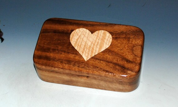 Wood Treasure Box Walnut with Maple Heart Inlay - Small Wood Box, Stash Box, Keepsake Box, Jewelry Box, Wooden Box Lid, Heart Box, Gift Box