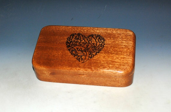 Tree of Life As a Heart Wood Box of Mahogany - Small Stash Box or Jewelry Box - Sacred Tree