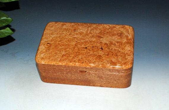 Wood Stash Box of Maple Burl on Mahogany - Handmade Wooden Box With Lid by BurlWoodBox