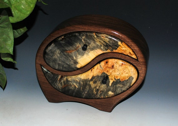 Wooden Jewelry Box in Our Yin Yang Style of Walnut with Buckeye Burl - Handmade Wood Box With Drawers