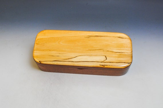 Wooden Pen or Special Gift Presentation Box of Mahogany with Spalted Elm - Handmade in the USA by BurlWoodBox - SALE