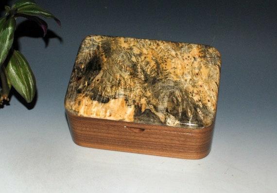 Handmade Wooden Small Box with Tray in Walnut and Buckeye Burl - Small Desk Box - Stash Box - Handmade Jewelry Box by BurlWoodBox - Wood Box