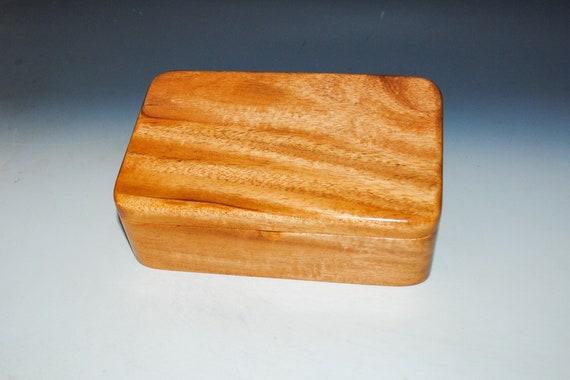 Wooden Stash Box of Figured Mahogany - Handmade by BurlWoodBox - Unique Gift!