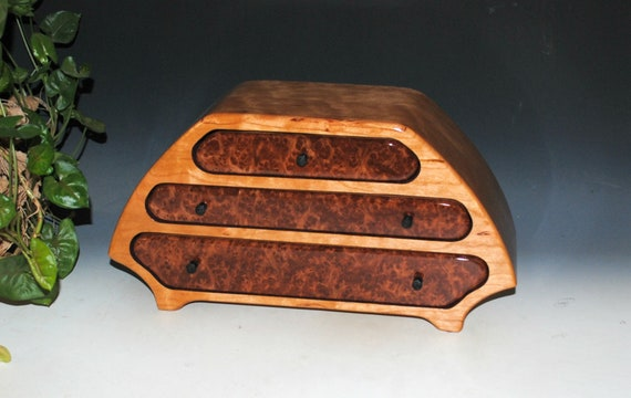 Handmade Wooden Jewelry Box of Cherry and Redwood Burl in Our Katie Style -  Large Jewelry Box With Drawers by BurlWoodBox