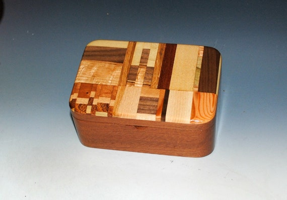 Small Wooden Box With Tray of Mahogany With Upcycled Cutting Board - Handmade Wood Box by BurlWoodBox - A Unique Gift For Anyone !