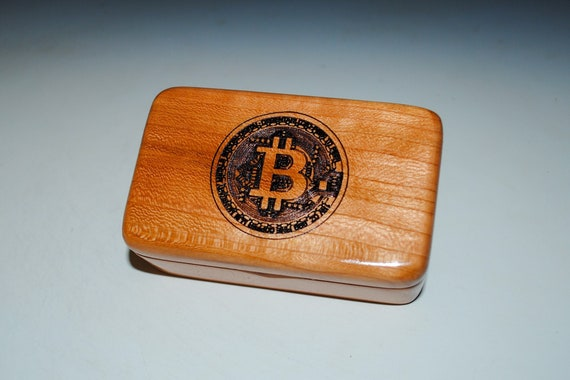 Small Wooden Box With a Bitcoin Engraved on Cherry - Handmade Wood Box by BurlWoodBox - Cryptocurrency, Bitcoin Storage Box