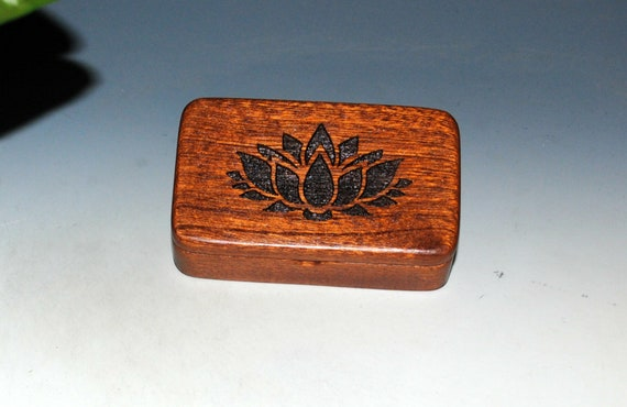 Small Wooden Box With a Lotus Flower on Mahogany - Handmade Symbolic Gift ! USA Made by BurlWoodBox