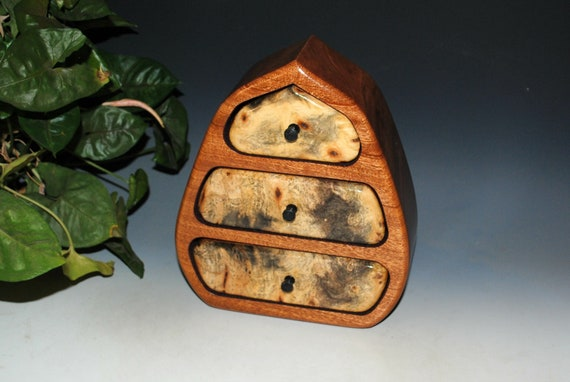 Wood Jewelry Box in our Pod Style of Buckeye Burl on Mahogany- Handmade in the USA by BurlWoodBox