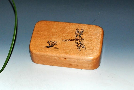 Wooden Box of Alder With a Laser Engraved Dragonfly - Handmade Wood Treasure Box by BurlWoodBox - Boxes Are Great Gifts!
