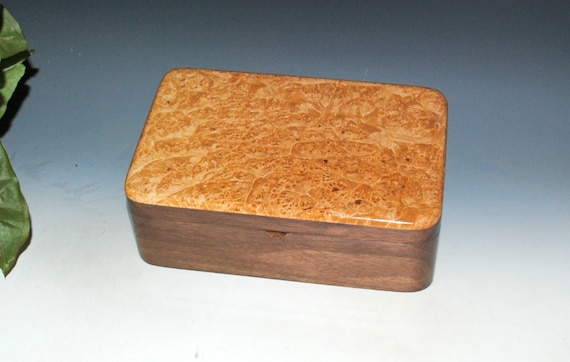 Wooden Stash Box of Walnut & Maple Burl Handmade by BurlWoodBox - A great gift for any occasion !