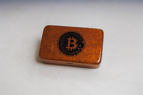 Small Wooden Box With a Bitcoin Engraved on Mahogany - Handmade Wood Box by BurlWoodBox - Cryptocurrency, Bitcoin Storage Box