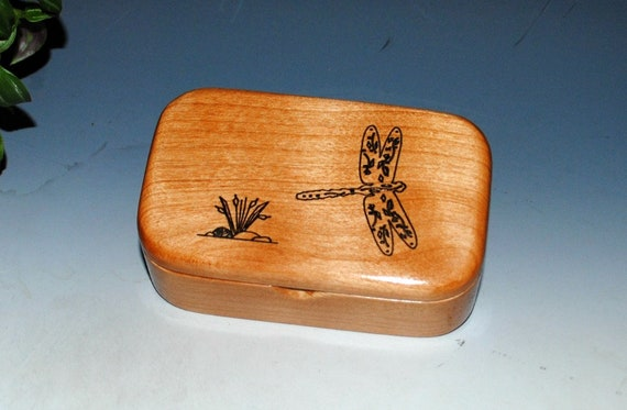 Small Wooden Box With Engraved Dragonfly on Alder - Handmade Wood Box With Lid by BurlWoodBox