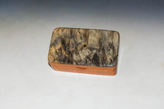 Very Small Wooden Box of Mahogany & Buckeye Burl Handmade by BurlWoodBox -  Excellent Small Gift Box or to Hold a Special Gift