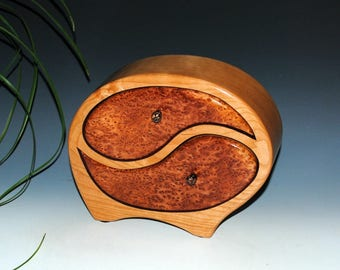 Handmade Wooden Jewelry Box - Wood Jewelry Box in Cherry with Redwood Burl - Yin Yang Style - Wooden Box, Wood Box, Wedding Gift-Anniversary