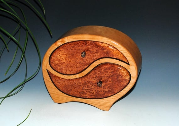 Wooden Jewelry Box of Cherry with Redwood Burl in our Yin Yang Style - Handmade Wooden Box by BurlWoodBox -Symbolic Gift Wedding Anniversary