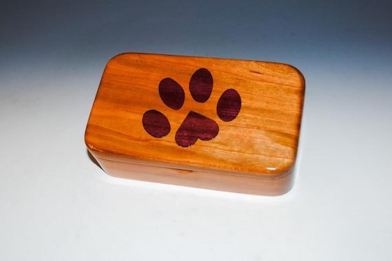 Cherry Wood Treasure Box With Inlaid Purple Heart Dog Paw Print - Dog Box, Dog Print Heart Box,Small Wood Box, Handmade Wooden Box,Dog,Puppy