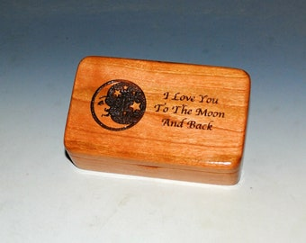 Wooden Box With I Love You To The Moon & Back on Cherry by BurlWoodBox With a Crescent Moon and Stars - Special Handmade Gift