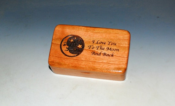 Wooden Box With I Love You To The Moon & Back on Cherry by BurlWoodBox With a Crescent Moon and Stars - Valentine Gift