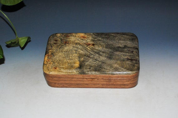 Handmade Wooden Box of Buckeye Burl on Walnut - Small Stash Box for Jewelry or Other Treasures